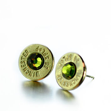 Bullet Stud Earrings - Silver and Forest Green