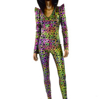 Poisonous Frog Print Sharp Shoulder Long Sleeve Hooded Catsuit