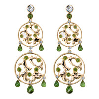RenéSim Tourmaline Diamond Rose Gold Characters Chandelier Earrings
