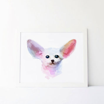 Fennec fox print, Fennec poster, Fennec fox decor, fennec Watercolor cute nursery cute Painting cute Wall Art, fennec design cute Printable