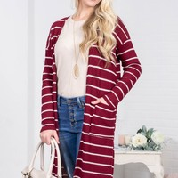 Wine Striped Pocket Cardigan