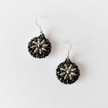 Black silver beaded earrings, beadwork earrings, dangle earrings, seed beaded earrings, fashion earrings, office jewelry