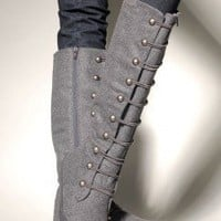 Hottem Military Style Snap Detail Boot by Blowfish at AKIRA | Statement Boots | shopAKIRA.com |
