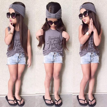 New Kids Girl's Wear Casual Sleeveless Print Tank Tops and Denim Shorts Headband 3PCS Slim Outfit Sets