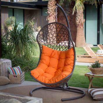 Island Bay Cocos Resin Wicker Hanging Egg Chair with Cushion and Stand - Walmart.com