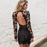 Floral Embroidery Open Back Dress