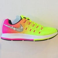 Bling Nike Shoes with Swarovski Crystals * Nike Air Zoom Pegasus 33 OC Olympic 2016 Be