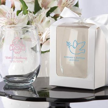 Personalized 9 oz. Stemless Wine Glass (Religious Designs) (White or Kraft Gift Box Available)