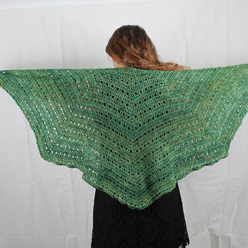 Crochet - Womens - Shawl / Wrap - Hand Painted Merino Wool - Green Tones