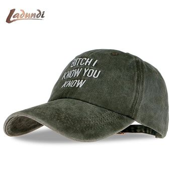 "Rihanna tour ""bitch I know you know"" army green cap drake Kendrick Lamar untitled unmastered hat Cotton Washed - 3 Colors"