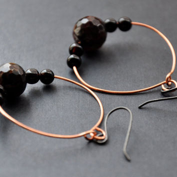 CIJ Agate Beaded Hoops, Copper Wire Hoop Earrings, Burgundy Brown Black Gemstones Earring, Christmas in July