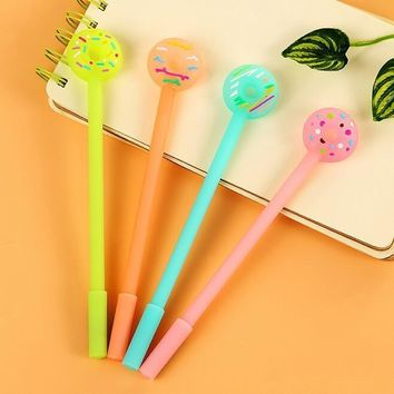 1pcs/lot Kawaii Candy Color Sweet 3d Doughnut Design Gel Pen 0.38mm Black Ink Signing Pen Funny Gift Office School Supplies