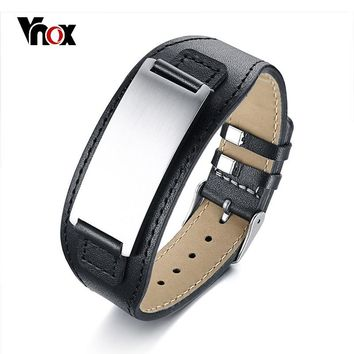 Vnox Free Customize Chunky ID Bracelets for Men Bangle Genuine Leather Wristband Stainless Steel Bar Punk Male Jewelry Pulseira