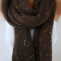 "Chocolate Knitted Scarf Winter Accessories Sequin Scarf Shawl Scarf Cowl Scarf Gift Ideas For Her Women Fashion Accessories Valentine""s Gift"