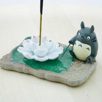 Incense burner/ Totoro/ Aromatherapy/ Incense/ miniature/ figurine/ home decor/ Lotus/ Incense holder/ Porcelain/ Miyazaki/ Studio ghibli