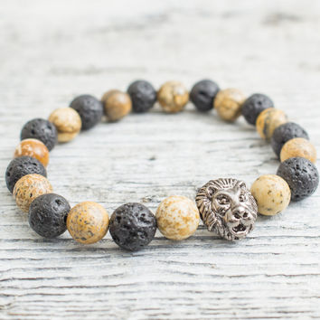 Black lava stone and brown jasper stone beaded gunmetal black Lion head stretchy bracelet, mens bracelet, womens bracelet