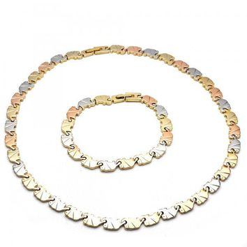 Gold Layered 06.102.0001 Necklace and Bracelet, Elephant Design, Polished Finish, Tri Tone