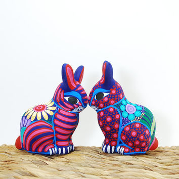 Animal ceramic sculpture - Easter rabbit - Easter decoration pottery rabbit  - pottery animal - Red ceramics