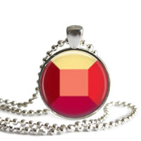 Steven Universe Ruby Gem 1 Inch Silver Plated Picture Pendant 24 Inch Necklace