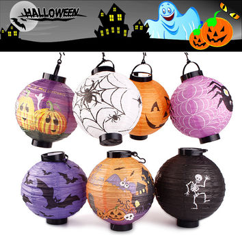 New Hot Halloween Party Decoration Lanterns Skull Bones Bat Spider Pumpkin LED Light Portable Hanging Paper Lantern Lamp #90951