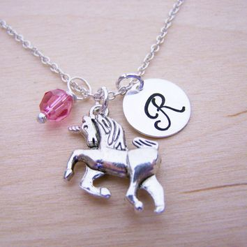 Unicorn Charm - Personalized Sterling Silver Necklace