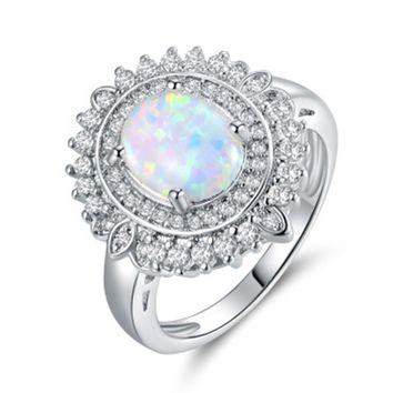 Fashion Women White Fire Opal Rings Jewelry Promise Engagement Rings For Women
