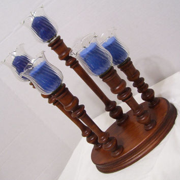 Solid Wood Candelabra On a Round Wood Base 5 Swirl Koch Votive Cups Included Holiday Centerpiece Lighting