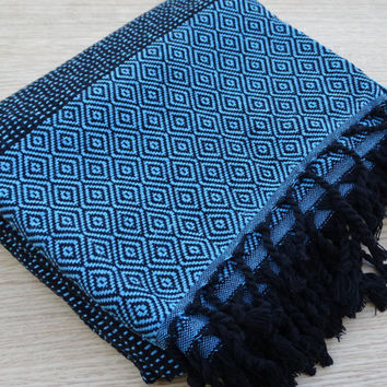 Turkish peshtemal turquoise and black colour soft cotton bath towel, beach towel, baby's blanket.