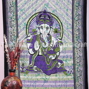 Lord Ganesha Tapestry Multicolor Home Decor, Lord Ganesha Deity Art Sequin Work, Indian God Tapestry, Twin Indian Tapestry, Wall Hanging