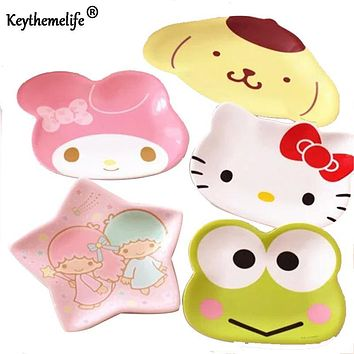 Keythemelife Cute Appetizers Dish Hello Kitty Frog Star Shape Cat Plate Dog Bowl Cake Display Dish Small Dish Gift C