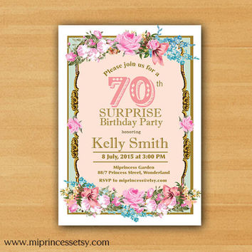 Shabby Chic Birthday Invitation for any age, 16th 18th 20th 30th 40th 50th 60th 70th 80th 90th vintage - card 759
