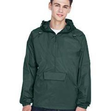 UltraClub - Adult Quarter-Zip Hooded Pullover Pack-Away Jacket