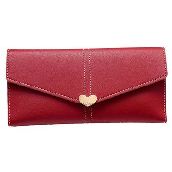 Women Long Purse Solid Color Heart Shaped Hasp Clutch Wallet Patchwork Vintage Card Holder Wallet Bag portafoglio donna @6114