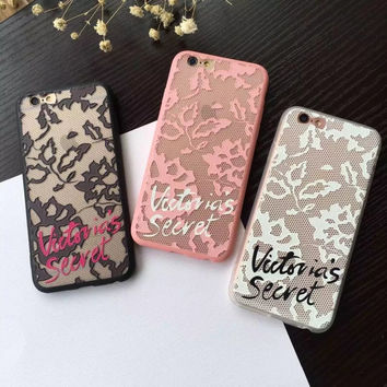 Luxury Victoria Lace Relief Hard Phone Case For iPhone 7 7Plus 6Plus 6 6s Secret Case Cover Fashion Protective Skin Shell