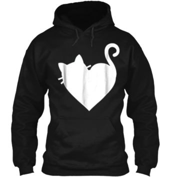 Cute Cat Heart  Mens & Womens 5 Colors - White Pullover Hoodie 8 oz