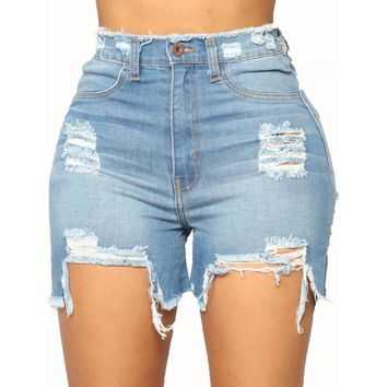 Plus-Size Denim Women Hole Shorts Mid Waists Tassel Short Jeans for Women