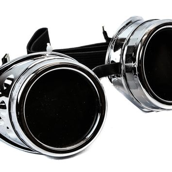 Plain Silver Cosplay Goggles Mad Scientist Wielder Glasses DIY Halloween Costume