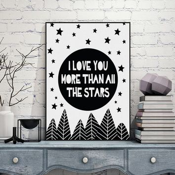 Modern Nordic Black White Minimalist Typography Star Love Quotes Art Print Poster Wall Picture Canvas Painting Living Room Decor