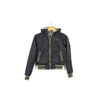 STUSSY reversible black nylon bomber jacket - vintage - varsity / military - army green canvas - with hood -  small