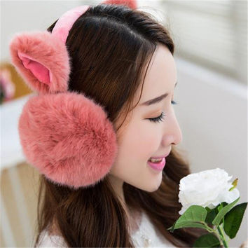 2016 New Women Girl Winter Warm Cute Cat Ears Earmuffs Earwarmers Ear Muffs Earlap Warmer Headband MN147