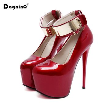 2018 New Red Sole Women Leather Pumps Sexy Platform 17CM High Heels Elegant Bridal Shoes Gold Ankle Buckle Stiletto Black Woman