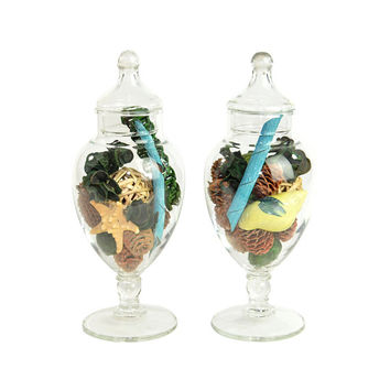 Apothecary Jars, Glass Pedestal Style (Set Of 2)   Elegant Decorative  Storage,