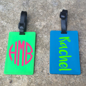 FREE SHIPPING! - Personalized Luggage Tag | Option of Monogram or Name | 6 Font Styles Available!