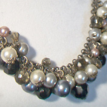 Pearl Cluster Necklace Silver Gray Faux Pearls Beaded Costume Jewelry