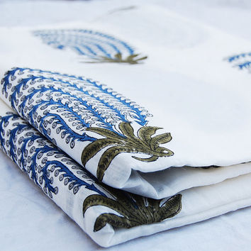 Indian Hand Printed Cotton Fabric Purple Leaf Plant design Art Yards Voile  White Bleached Wood Stamp Sewing Material Making Shirt/Dress
