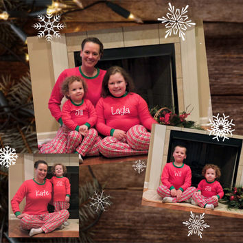 Christmas Pajamas- Infant, childrens, & adult With Monogram or Name!