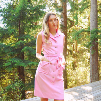Vintage LACOSTE Dress, PINK Twiggy 60s MOD Dress, Sleeveless Button Front Chemise Lacoste Polo Izod Active Dress, 1960s Tennis Dress, Medium