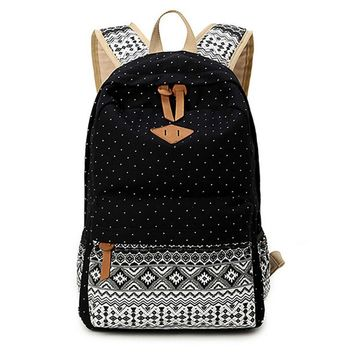 Day-First™ Women's Black Polka Dots Backpack for College Bookbag for Teen Girls School Bag