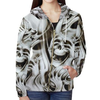 No Evil Skulls Women's All Over Print Full Zip Hoodie
