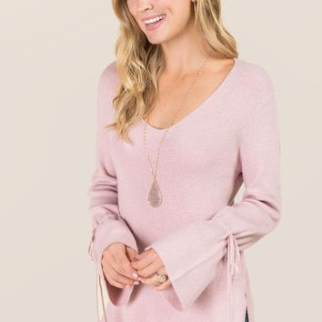 Emerald Cinched Sleeve Pullover Sweater